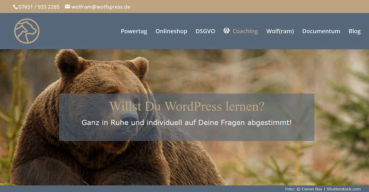 WordPress lernen mit dem Wolf