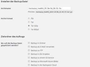 WordPress Backup mit BackWPup - Auftrag erstellen