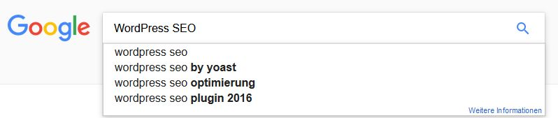 WordPress SEO Google Suchvorschläge