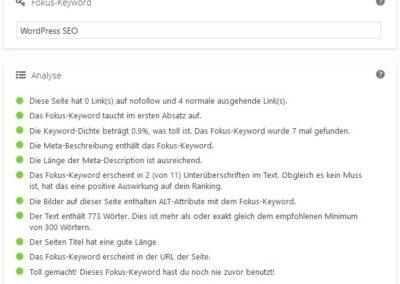 Yoast SEO - SEO Bewertung für Teil 1 WordPress SEO