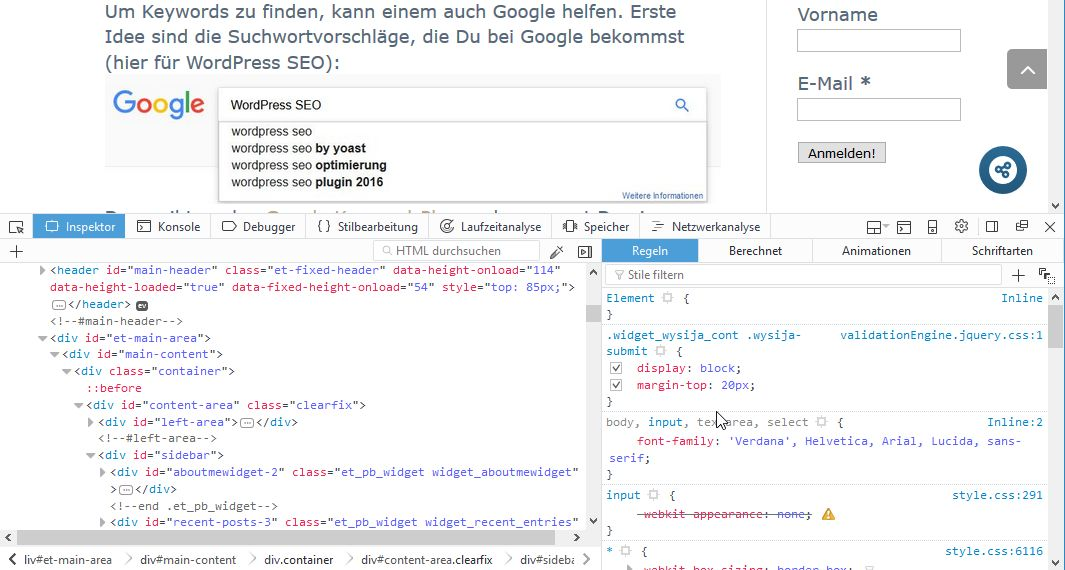 """Browser """"Element untersuchen"""""""