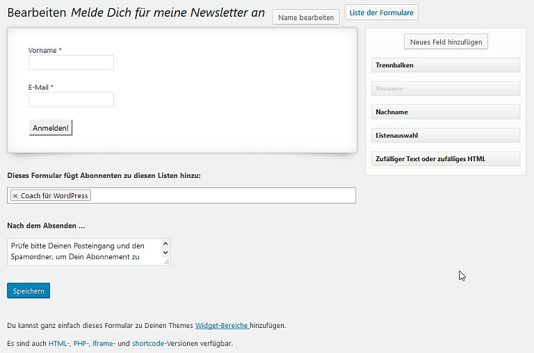 MailPoet Anmelde-Formular erstellen